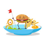 Fast Food Products Concept Vector in Flat Design Royalty Free Stock Images