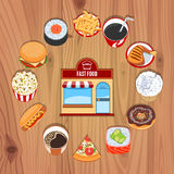 Fast Food Products On Wooden Background Stock Images