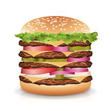 Fast Food Realistic Burger Vector. Big Burger Icon. Fast Food Realistic Burger Vector. Realistic  illustration of burger. Hamburger with Meat, Cucumbers, Cheese Royalty Free Stock Image