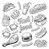 Fast food restauraci menu Ręka Rysujący nakreślenie hamburgeru francuz Smaży hot dog ilustracji