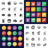 Fast Food Restaurant All in One Icons Black & White Color Flat Design Freehand Set. This image is a vector illustration and can be scaled to any size without Stock Image