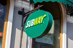 Fast food restaurant American Subway royalty free stock images
