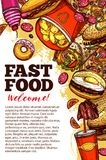 Fast food restaurant banner with takeaway menu. Fast food restaurant welcome banner with takeaway burger, drink and dessert. Hamburger, pizza and fries, hot dog stock illustration