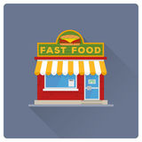 Fast food restaurant building flat design vector illustration Royalty Free Stock Photography