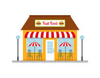 Fast food restaurant building icon. Stock Photo