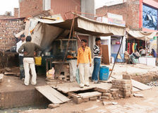 Fast food Restaurant built over sewer on street market. Stock Photography