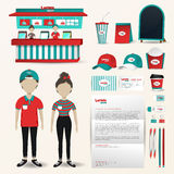 Fast food restaurant business uniform fashion, shop counter desi Stock Photos
