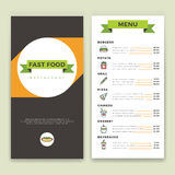 Fast food restaurant and cafe menu vector template with flat line icons Royalty Free Stock Photo