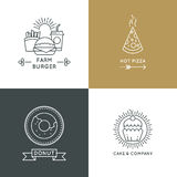 Fast food restaurant and cafe vector logo set in linear style Royalty Free Stock Photography
