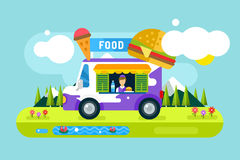 Fast food restaurant car. Food festival outdoor. Landscape. Take out food. Food car, outdoor kitchen, water bottle, juice box, eating, ice cream, hamburger, hot Stock Photos