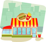 Fast Food Restaurant. Cartoon illustration of a fast food restaurant and cityscape in the background. Eps10 Stock Photos