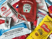 Fast Food Restaurant Chain Condiments. Various types of fast food restaurant chain condiments like mayonnaise, ketchup and mustard Royalty Free Stock Images