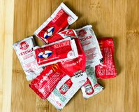 Fast Food Restaurant Chain Ketchup Condiments. Various types of fast food restaurant chain ketchup condiments Royalty Free Stock Photography