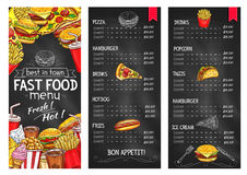 Fast food restaurant chalkboard menu template Stock Photos