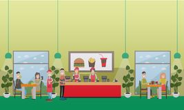 Fast food restaurant concept vector flat illustration Royalty Free Stock Images