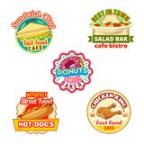 Fast food restaurant, donut shop, cafe bistro icon. Fast food restaurant, donut shop and cafe bistro badge set. Hot dog, cheese sandwich and fried chicken leg Stock Images