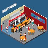 Fast Food Restaurant Isometric Illustration. Fast food restaurant with employees of kitchen cashiers waitresses and visitors interior elements isometric vector royalty free illustration