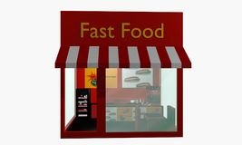 Fast food restaurant in front isolated on white. 3d rendering Royalty Free Stock Images