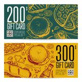 Fast food restaurant gift card set. Voucher with burger, pizza, dessert, drink, sandwich hand drawn doodles. Cafe discount coupon, junk food retro design with Stock Images