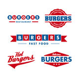 Fast food restaurant logo set. Set of vintage fast food restaurant logo, panel, badge and label Royalty Free Stock Photo
