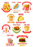 Fast food restaurant lunch meal symbol set Stock Images