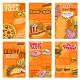 Fast food restaurant lunch snack posters Stock Images
