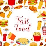 Fast food restaurant meal frame poster design Royalty Free Stock Photography