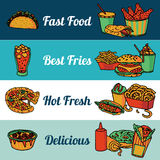 Fast food restaurant menu banners set Royalty Free Stock Image