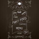 Fast food on the restaurant menu chalkboard Stock Photos