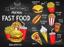 Fast food restaurant menu chalkboard design. Fast food restaurant menu chalkboard. Hamburger, pizza, hot dog, coffee and soda drinks, french fries, ice cream vector illustration