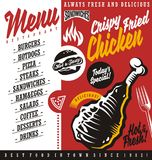 Fast food restaurant menu. Food menu with fried chicken meat drawing, burger and pizza illustration. Fast food restaurant menu vector template Royalty Free Stock Images