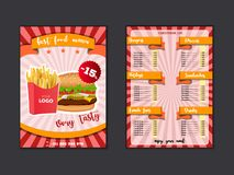 Fast food restaurant menu template. Lunch dishes and drinks list with prices and burger, pizza, hot dog, soda, fries, coffee, royalty free illustration