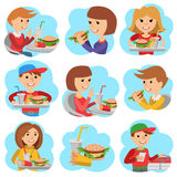 Fast food restaurant. People icones isolated on white background. Royalty Free Stock Photo