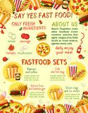 Fast food restaurant snacks vector menu template Royalty Free Stock Photography