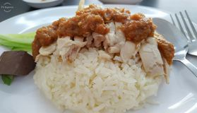Fast food restaurant Thailand chicken rice stock photos