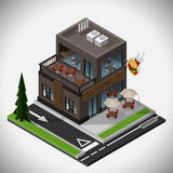 Fast food restaurant. Vector isometric illustration of a fast food restaurant with a summer terrace and a point of reception of the order from the car Stock Image