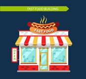 Fast food restauraunt. Building facade with signboards. Signboard with big hot dog. People eating and drinking at the tables inside the building. Flat style Royalty Free Stock Photos