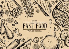 Fast food retro advertising background. Cafe price catalog, junk food retro poster with snack linear sketches. Restaurant menu cover vector illustration with royalty free illustration