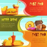 Fast Food 2 Retro Banners Set stock illustration