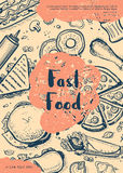 Fast food retro restaurant menu cover. Cafe price catalog, junk food grunge poster with meal linear sketches. Snack vector advertising with hand drawn pizza vector illustration