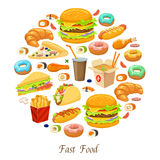 Fast Food Round Composition Stock Photo