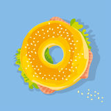 Fast food salmon sandwich. bagel with seed Stock Photos
