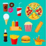 Fast food sandwiches, desserts and drinks icon Royalty Free Stock Photography