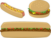 Fast Food Sandwiches and Hot Dog Royalty Free Stock Photo