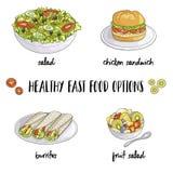 Fast food saudável ilustração royalty free