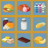 Fast food, sausage, chemical additives, fast carbohydrates, salt. GMO, refractory fats, chocolate, heavy foods - harmful foods. For your convenience, each Stock Photos