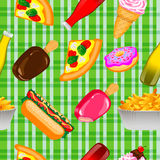 Fast Food Seamless Background. American Fast Food Seamless Background. Vector illustration Vector Illustration