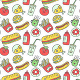 Fast food seamless background. Funny cartoon characters on white stock illustration