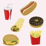 Fast food seamless. Fast food. Flat style Vector illustration Royalty Free Stock Photos