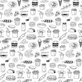 Fast Food seamless hand drawn doodle pattern Royalty Free Stock Photography